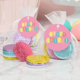 Easter Egg Party Chocolate Coins in XS Organza Bags with Gift Tag - Set of 6