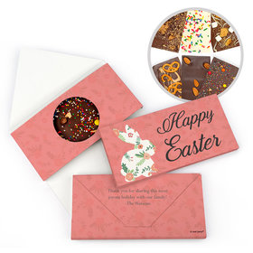 Personalized Easter Floral Bunny Gourmet Infused Belgian Chocolate Bars (3.5oz)