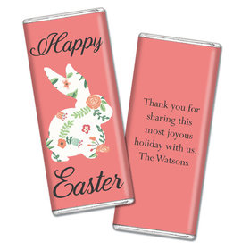 Personalized Easter Floral Bunny Chocolate Bar & Wrapper (3oz Bar)