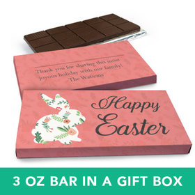 Deluxe Personalized Easter Floral Bunny Chocolate Bar in Gift Box (3oz Bar)