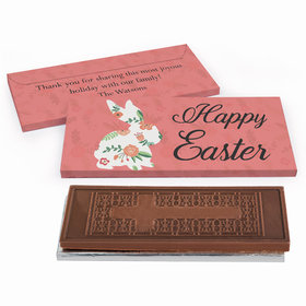 Deluxe Personalized Easter Floral Bunny Chocolate Bar in Gift Box