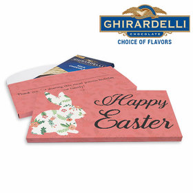Deluxe Personalized Easter Floral Bunny Ghirardelli Chocolate Bar in Gift Box