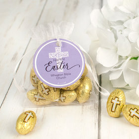 Personalized Easter Flourish Cross Milk Chocolate Eggs in Organza Bags with Gift Tag