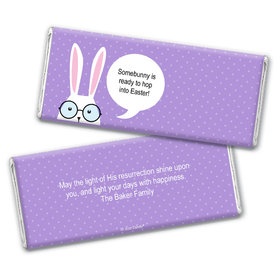 Personalized Easter Bunny Message Bubble Chocolate Bar Wrappers Only