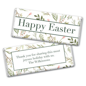 Personalized Easter Spring Greenery Chocolate Bar Wrappers Only