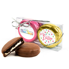 Add Your Logo Easter Eggs & Flowers 2Pk Pink & Gold Foiled Chocolate Covered Oreo Cookies