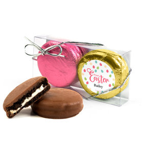 Personalized Easter Eggs & Flowers 2Pk Pink & Gold Foiled Belgian Chocolate Covered Oreo Cookies