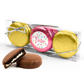 Easter Eggs & Flowers 3PK Pink & Gold Foiled Belgian Chocolate Covered Oreo Cookies