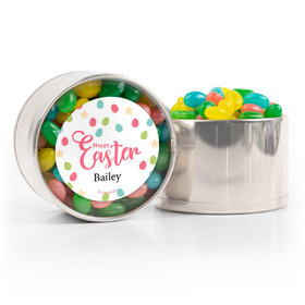 Personalized Easter Stars & Dots Spring Mix Jelly Beans Medium Plastic Tin