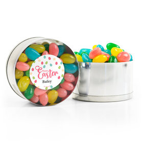 Personalized Easter Stars & Dots Spring Mix Jelly Beans Small Plastic Tin