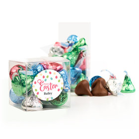 Personalized Easter Eggs & Flowers Clear Gift Box with Sticker - Approx. 16 Spring Mix Hershey's Kisses