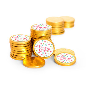 Easter Eggs & Flowers Chocolate Coins with Stickers (84 Pack)