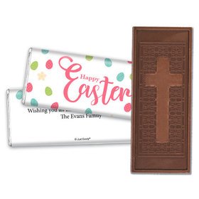 Personalized Easter Eggs & Flowers Embossed Chocolate Bar & Wrapper