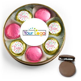 Personalized Easter Eggs & Flowers Belgian Chocolate Covered Oreo Cookies Large Plastic Tin