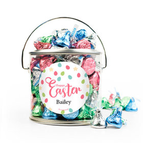 Personalized Easter Eggs & Flowers Silver Paint Can with Sticker - 1lb Spring Mix Kisses