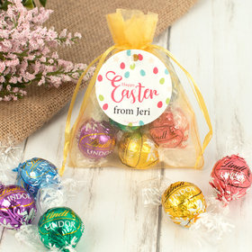 Personalized Easter Eggs and Flowers Lindor Truffles by Lindt in Organza Bags with Gift Tag