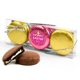 Personalized Easter Pink Dots 3PK Pink & Gold Foiled Belgian Chocolate Covered Oreo Cookies