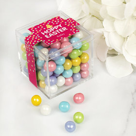 Easter Pink Chick JUST CANDY® favor cube with Sixlets Chocolate