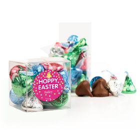 Personalized Easter Pink Chick Clear Gift Box with Sticker - Approx. 16 Spring Mix Hershey's Kisses