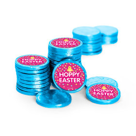 Easter Pink Chick Chocolate Coins with Stickers (84 Pack)