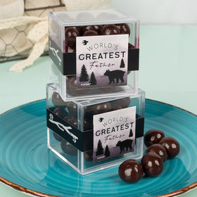 Father's Day Wild Wilderness JUST CANDY® favor cube with Premium Barrel Aged Bourbon Cordials - Dark Chocolate