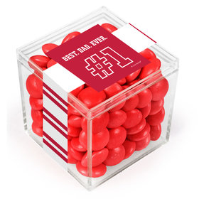 Personalized Father's Day #1 Dad JUST CANDY® favor cube with Just Candy Milk Chocolate Minis
