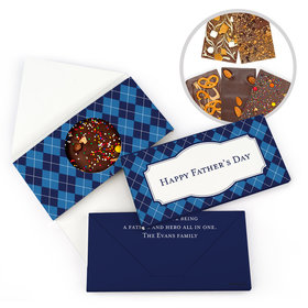 Personalized Father's Day Argyle Pattern Gourmet Infused Belgian Chocolate Bars (3.5oz)