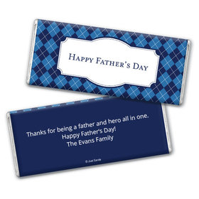 Personalized Father's Day Argyle Pattern Chocolate Bar