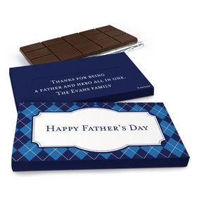Deluxe Personalized Father's Day Argyle Pattern Chocolate Bar in Gift Box (3oz Bar)