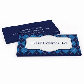 Deluxe Personalized Father's Day Argyle Pattern Candy Bar Favor Box