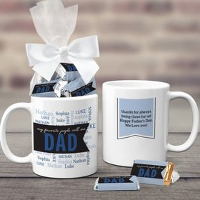 Father's Day Gifts Personalized 11oz Coffee Mug with approx. 24 Wrapped Hershey's Miniatures - My Favorite People Call Me Dad