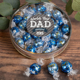Personalized Father's Day Gifts Large Plastic Tin with Lindt Truffles (24pcs) - Established Dad