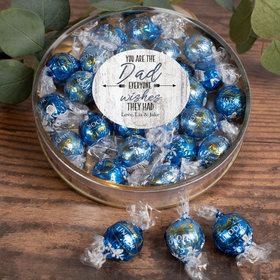 Personalized Father's Day Gifts Large Plastic Tin with Lindt Truffles (24pcs) - Dad Everyone Wishes For