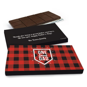Deluxe Personalized Father's Day Red & Black Chocolate Bar in Gift Box (3oz Bar)