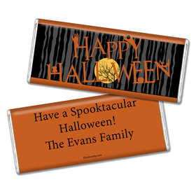 Halloween Personalized Chocolate Bar Full Moon Spooky Tree