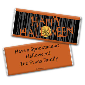 Halloween Personalized Chocolate Bar Wrappers Full Moon Spooky Tree