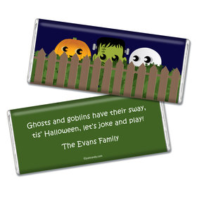 Halloween Personalized Chocolate Bar Hiding Monsters