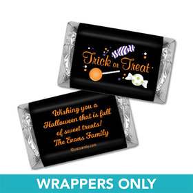 Halloween Personalized Hershey's Miniatures Wrappers No Tricks Just Treats