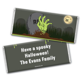 Halloween Personalized Chocolate Bar Wrappers Zombie Hand Rising From Grave