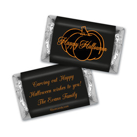 Halloween Personalized Hershey's Miniatures Pumpkin Outline