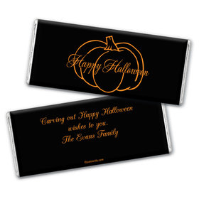 Halloween Personalized Chocolate Bar Wrappers Pumpkin Outline