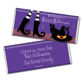 Halloween Personalized Chocolate Bar Witches Feet, Hat & Cat