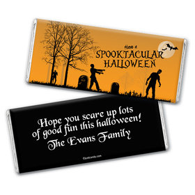 Halloween Personalized Chocolate Bar Wrappers Zombie Graveyard