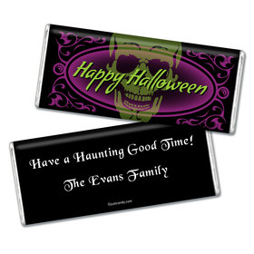 Halloween Personalized Chocolate Bar Ghostly Skull