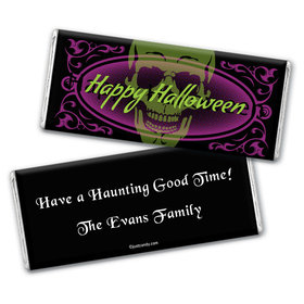 Halloween Personalized Chocolate Bar Wrappers Ghostly Skull
