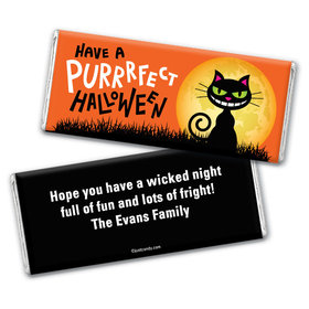 Halloween Personalized Chocolate Bar Wrappers Purrfect Halloween Black Cat