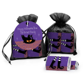 Personalized Halloween The Witch Is In Hershey's Miniatures in Organza Bags with Gift Tag