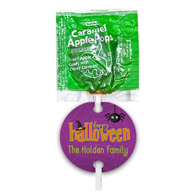 Personalized Halloween Spirit Caramel Apple Pops with Gift Tags (48 pops)