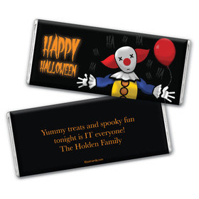 Personalized Halloween Creepy Clown Chocolate Bar & Wrapper