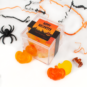 Personalized Halloween Jack O'Lanterns JUST CANDY® favor cube with Gummy Pumpkins
